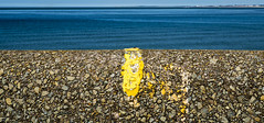 yellow and blues (Nigel_G) Tags: yellow blue sea coast wall paint newbrighton wirral merseyside