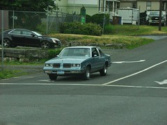 A 1986 OLDSMOBILE CUTLASS  SUPREME IN JUNE 2018 (richie 59) Tags: ulstercountyny ulstercounty newyorkstate newyork unitedstates trees generalmotors kingstonny kingston midtownkingstonny midtownkingston midtown richie59 america outside oldsmobile summer weekday wednesday cutlass oldsmobilecutlass gm gmcars 2018 oldsmobilecutlasssupreme cutlasssupreme june2018 june272018 1986oldsmobilecutlasssupreme 1986oldsmobilecutlass 1986oldsmobile 2010s 1980scar american carus car 2door twodoor coupe city smallcity urban hudsonvalley midhudsonvalley midhudson usa us ny nys nystate bluecar blackcar street citystreet turnlane intersection frontend grill headlights sideview