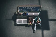 The waiting game (mirri_inc) Tags: spain madrid metro dark waiting bench pov candid street shadow light