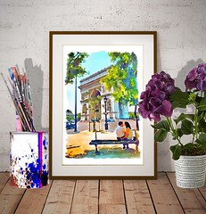 The Arch of Triumph Paris (marianv2014) Tags: archoftriumph arcdetriomphe paris watercolor watercolorpainting watercolour wallart walldecor loveposter couple coupleposter coupledecor lovedecor trees cars bench people man woman green blue orange street sidewalk french france homedecor lamppost aquarelle summer urban artgifts affordableart outside architecture romantic modernart citiscapes citysymbols artwork outdoors beautiful tourism scenery city view europe contemporary european decor landmark charming