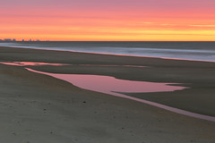 Puddles of Pink (matthewkaz) Tags: ocean atlanticocean water sky sunrise clouds reflection reflections beach sand coast coastline shore shoreline puddle puddles longexposure myrtlebeach sc southcarolina 2018