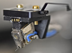 Naked Cartridge-HMM! (Electrical Storm Brought Rain :)) Tags: macro macromondays nakedcartridge stylus cantilever turntablecomponent wires blue black writing text bolts
