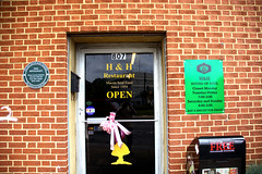 This Door Leads  to Good Food (Mike McCall) Tags: copyright2018mikemccall photography photo image usa culture southern america thesouth unitedstates northamerica south georgia county bibb macon vernacular hh restaurant eatabiscuitforpeace mushroom logo allmanbrothers soulfood soul food historic 1959 landmark music documentaryeditorial
