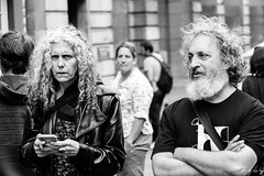 Confused Looks (Cycling Road Hog 2018) Tags: beard blackwhite candid canoneos750d citylife colour couple efs55250mmf456isstm edinburgh fashion man mobile monochrome people phone places royalmile scotland street streetphotography streetportrait style woman