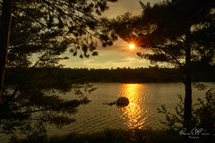 When Day is Nearly Done (Lindaw9) Tags: sunset scenery silhouettes lake treeline rock pine trees