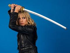 Kill Bill (fstop186) Tags: killbill beautiful blonde samurai sword action pippa leather jacket