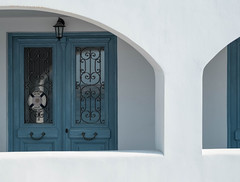 Blue door (V Photography and Art) Tags: arch door reflection composition framing wall whitewall greece spetses