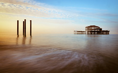 Wistful Thinking (singulartalent) Tags: 2018 mhighamphotos brighton brightonbeach markhigham westpier decay fire firedamaged iron landmark longexposure ruin sunrise uk victorian wreck alfriston england unitedkingdom gb