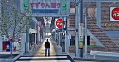 Pinball (Loegan Magic) Tags: secondlife ssocrieritownintokyo buildings alley road crosswalk storefronts shops signs tokyo japan male pose harukimurakami quote