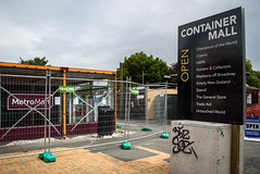 Container Mall No More (Jocey K) Tags: newzealand nikond750 christchurch cbd building signs fencing tags trees sky