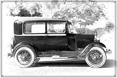 1928 Ford model A Tudor Sedan BF 7277..... Photoshopped (BIKEPILOT, Thx for + 4,000,000 views) Tags: 1928 ford modela tudorsedan bf7277 bw blackwhite photoshopped photoshop car transport automobile vehicle classic vintage profile art classicsattheclubhouse sandfordspringshotelgolfclub kingsclere hampshire uk carshow
