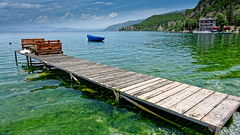 Trpejca Scaffold (Alfred Grupstra) Tags: nature woodmaterial water lake jetty pier summer vacations sea landscape outdoors nauticalvessel blue scenics tranquilscene idyllic travel sky island nopeople 90 macedonia trpejca ohrid