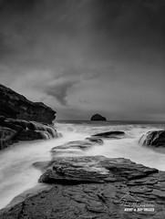 'Stormy Strand' (macdad1948) Tags: bluehour trebarwithstrand cliffs rock longexposure hightide coast cornwall waves danger tintagel surf blackwhite monochrome