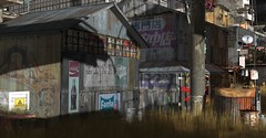 The Day The Whole World Went Away (Loegan Magic) Tags: secondlife tralalasdiner postapocalypse neonoir cyberpunk buildings signs roads decay lights