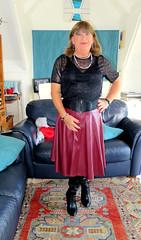 Red Skirt (Trixy Deans) Tags: crossdresser cd cute crossdressing xdresser sexy sexytransvestite sexylegs shemale shortskirt boots leatherskirt