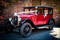 Wedding car (G. Postlethwaite esq.) Tags: austin derbyshire wirksworth fullframe photoborder photowalk town vintage weddingcar whiteribbon