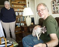 Nana, Jim & Max (edenpictures) Tags: cat max cornishrex lapcat nana kathleen mom jim petting brookdale