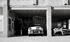 '51 Ford (explore) (unknown quantity) Tags: oldcar shadows masonry rust grime sidewalk monochrome blackandwhite weathered hss