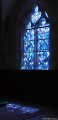 Les Bleus (peterphotographic) Tags: p5220351edwm lesbleus olympus em5mk2 microfourthirds ©peterhall giverny normandy normandie france blue stainedglass glass window shadow church eglise dark