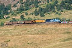 Screaming Eagle on Big Ten (ColoradoRailfan) Tags: unionpacific upmoffattunnelsub moffattunnelsub missouripacificheritageunit mopac missouripacific up1982 coaltrain bigtencurve