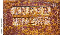 Anger (jwvraets) Tags: donegal southwesternontario cemetery tombstone anger danielanger lichen yellow granite red opensource rawtherapee gimp nikon d7100 afsdxnikkor18105mm