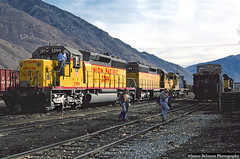 Back in the Yard (jamesbelmont) Tags: railway emd sd402 sd40 alco rsd15 caboose utahrailway provo utah crew unionpacific