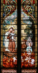 Our Lady of Mount Carmel (Lawrence OP) Tags: sweetestheartofmary stainedglass window ourladyofcarmel brown scapular blessedvirginmary purgatory flames souls salvation jesuschrist