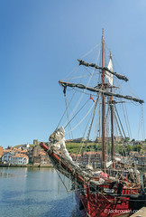 The training ship Atyla. (jack cousin) Tags: atyla captaincookfestival england northsea uk whitby yorkshire boat buildings church coast event flag furled harbor harbour hill hilltop historic history houses maritime nautical outdoor popular port quay reflections rigging sails sea seascape seashore ship shore sky tallship tallships tourism touristattraction town water waterfront wharf nikond610 on1photos