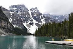 Lake Moraine, Canada (deanolind) Tags: elements lake morainelake albertacanada banffnationalpark blue green trees water mountains glaciers valleyofthetenpeaks snow