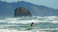 DSCN0041 Oregon Surfer (Dodge Rock) Tags: coast surfer oregon beach cannonbeach