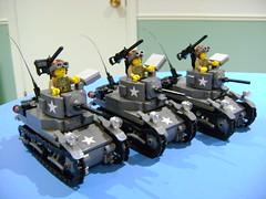 Custom Lego WW2 Stuart M3A1 tank trio MOC (TekBrick) Tags: custom ww2 lego stuart m3a1 tank moc dark grey us usa mini figure brick parts bricks tracks machine gun