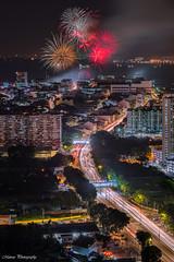 Penang Bon Odori 2018 Firework (Marcus Lim @ WK) Tags: firework night nightscape building architecture cityscape landscape nikon light cartrail road city street