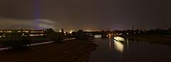Elbe und Altstadt von Dresden (Veit Schagow) Tags: waldschlösschenbrcke schlössernacht feuerwerk fireworks motorschiff langzeitbelichtung nachtaufnahme gräfincosel motorschiffgräfincosel elbe altstadt kulisse skyline himmel sky
