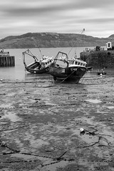 Laying on the sand (Colin Hollywood Photography) Tags: uk england dorset lyme regis boat harbour sea water coast tide mono monotone wet