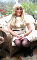 Cindyfawnsit (fionaxxcd) Tags: crossdresser crossdressing xdress m2f mtf transvestite tranny trannie blacktights longblonde goldenbangles redlips mascara breasts stilettos