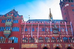 The Town Hall in Basel is over 500 years old, prominently located at the town center. Its red walls and murals covering almost its entire building made the building a 'must' stop when in Basel.