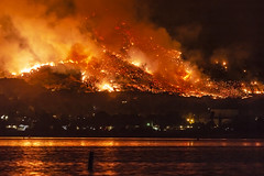 California Wildfires: The Holy Fire At Lake Elsinore On August 9, 2018 (slworking2) Tags: lakeelsinore california unitedstates us wildfire fire flames inferno holyfire
