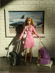 Corie on the airport (Mary (Mária)) Tags: poppyparker fashionroyalty integritytoys toys doll barbie fashion vacation pasport plane suitcase luggage summer holiday airport dianevonfurstenberg diorama dollphotography interior handmade marykorcek travel