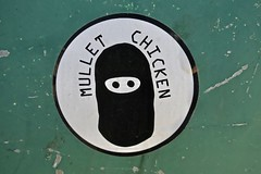 Mullet Chicken, Marquette, MI (Robby Virus) Tags: marquette michigan mi up upper peninsula mullet chicken clothes clothing sticker slap face mask ski