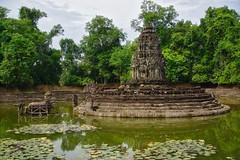 Neak Pean temple ruins in Angkor Archeological Park near Siem Reap, Cambodia (UweBKK (α 77 on )) Tags: angkor archeological park archeology history historical ancient temple ruins religion religious buddha buddhist buddhism hindu hinduism stone siem reap cambodia southeast asia sony alpha 77 slt dslr neak pean pond basin water trees green