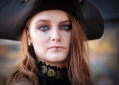 Portrait from the Whitby Steampunk Weekend IV - Days Like These (Gordon.A) Tags: yorkshire whitby steampunk whitbysteampunkweekend iv dayslikethese wsw july 2018 convivial creative costume hat tricorne culture lifestyle style fashion lady woman people street festival event eventphotography outdoor outdoors outside amateur streetphotography pose posed portrait streetportrait colour colourportrait colourstreetportrait naturallight naturallightportrait digital canon eos 750d sigma sigma50100mmf18dc