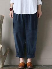 S-5XL Stripe Pockets Elastic Waist Cotton Pants (1282127) #Banggood (SuperDeals.BG) Tags: superdeals banggood clothing apparel s5xl stripe pockets elastic waist cotton pants 1282127