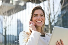 Businesswoman call career - Credit to https://homegets.com/ (davidstewartgets) Tags: businesswoman call career communication contact girl happiness happy ipad laugh person portrait smile tablet technology teeth woman