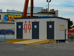 His or Hers Porta Cabins (Steve Taylor (Photography)) Tags: loo toilet portacabin symbol sign bog ramp design architecture graphic graffiti streetart tag crane light newzealand nz southisland canterbury christchurch cbd city aerial deflo