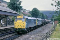 Blue And Yellow Peds On The Preston Tanks (Michael McNicholas) (Neil Harvey 156) Tags: railway 31208 31202 hebdenbridgestation hebdenbridge caldervalley bitumentanks prestondockstanks prestontanks 7e60 class31 brblue railblue ped goyle doubleheaded michaelmcnicholas