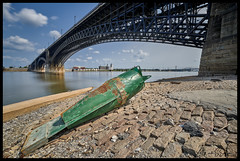 Buoy Under the Eads Bridge (Nikon66) Tags: buoy eadsbridge mississippiriver riverfront cobblestones wharf stlouis missouri nikon d850
