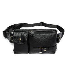 33fb8926daf6e7 Men Genuine Leather Outdoor Waist Pack Fanny Pack Belt Bag Phone Pouch  Vintage Waist Bag (