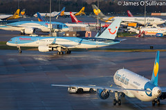 Let the race to The Canaries begin (James O' Sullivan) Tags: thomson thomsonairways thomascook tui uk airbus a321 boeing boeing757 manchester manchesterairport england aviation aviationphotography aviationphoto photography canon canon450d canonphoto canoncamera canonphotography canonaviation avgeek