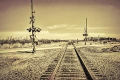 Railroad Crossing Textured (joe Lach) Tags: railroadcrossing railwaycrossing railway railroad traintracks trainsignal mojavedesert mojavetown mohavedesert antelopevalley offthebeatenpath california joelach