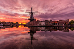 "Sunrise by the mill ""De Adriaan"" (CG@Photography) Tags: landscape holland reflection amsterdam haarlem mill windmill travel destination netherlands nederland sunrise cloudsky"